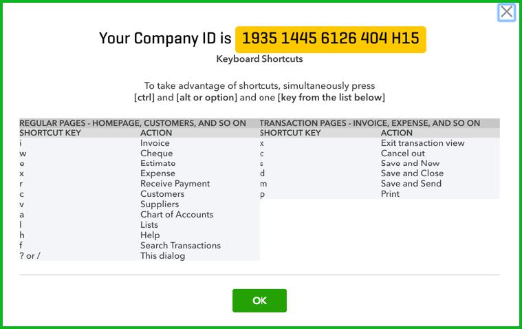 QuickBooks Online Keyboard Shortcuts